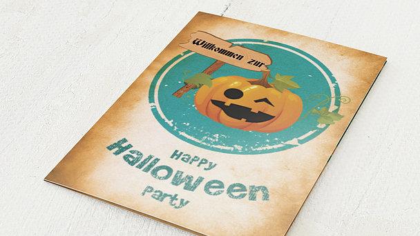 Einladungskarten Halloween - Kürbis-Party