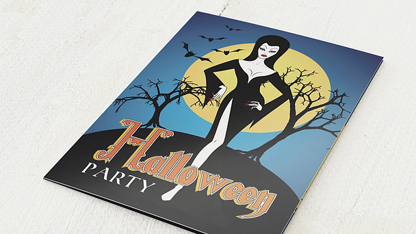 Einladungskarten Halloween - Morticia
