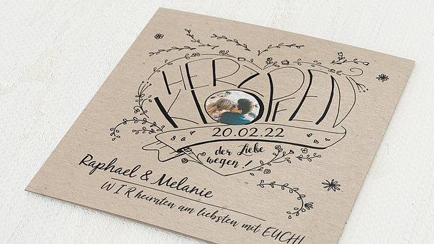Hochzeitseinladung - Herzhüpfer