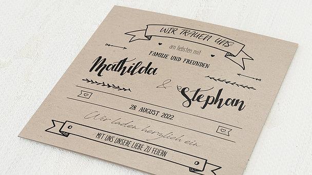Hochzeitseinladung - Kraftpapier