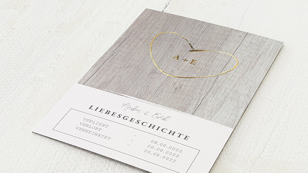 Hochzeitseinladung - Wooden Lovestory