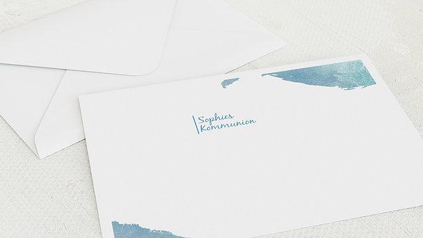 Umschlag mit Design Kommunion - Fisch im Wasser