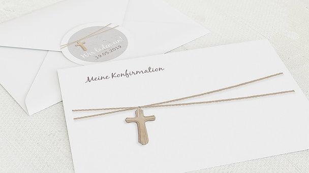 Umschlag mit Design Konfirmation - Holzkreuz