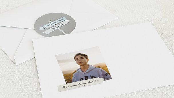 Umschlag mit Design Jugendweihe - Wegweiser