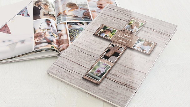 Fotobuch Kommunion - Kreuz mit Fotos
