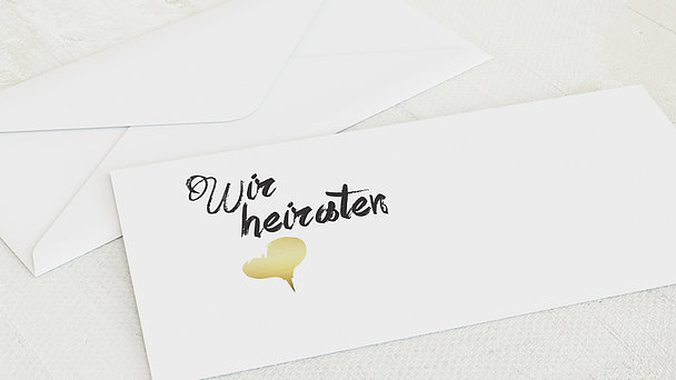 Umschlag mit Design Hochzeit - Goldenes Herz