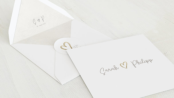 Umschlag mit Design Hochzeit - Herz über Kopf