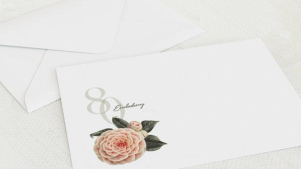 Umschlag mit Design Geburtstag - Kamelie 80