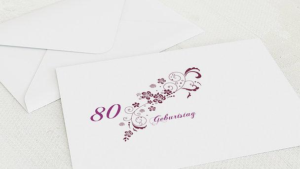 Umschlag mit Design Geburtstag - Blütenkarte 80