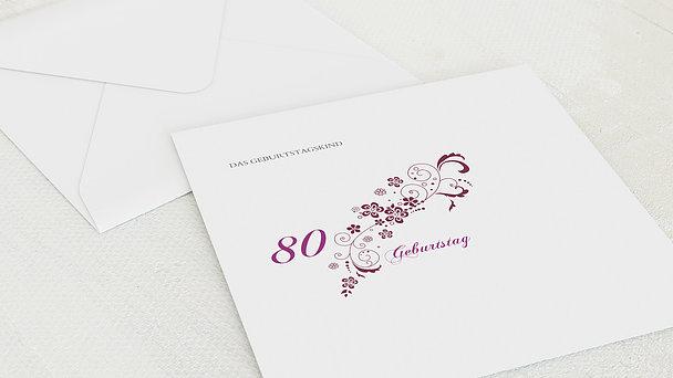 Umschlag mit Design Geburtstag - Blütenkarte mit Foto 80