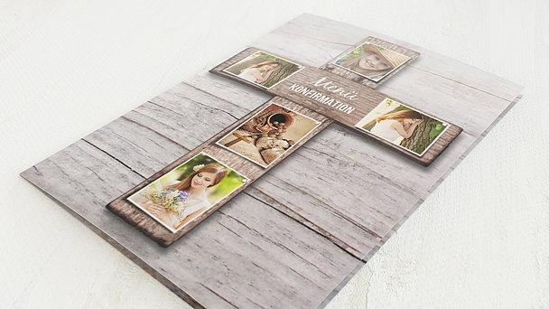 Menükarten Konfirmation - Kreuz mit Fotos