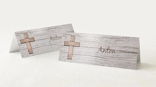 Tischkarten Kommunion - Kreuz mit Fotos