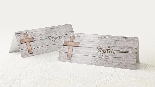 Tischkarten Konfirmation - Kreuz mit Fotos