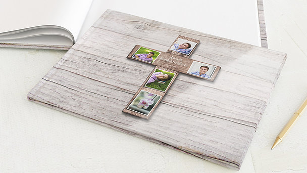 Gästebuch Konfirmation - Kreuz mit Fotos