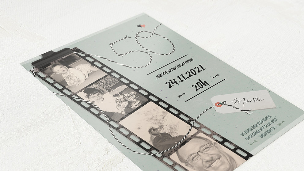 Geburtstagseinladungen Filmstreifen 50 Detail