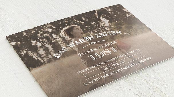 Geburtstagseinladungen - Alte Zeiten 40
