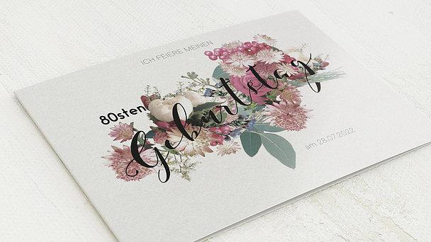 Geburtstagseinladungen - Blütenwalzer 80