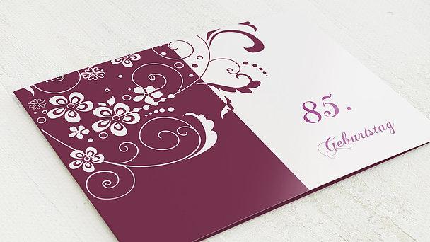 Geburtstagseinladungen - Blütenkarte mit Foto 85
