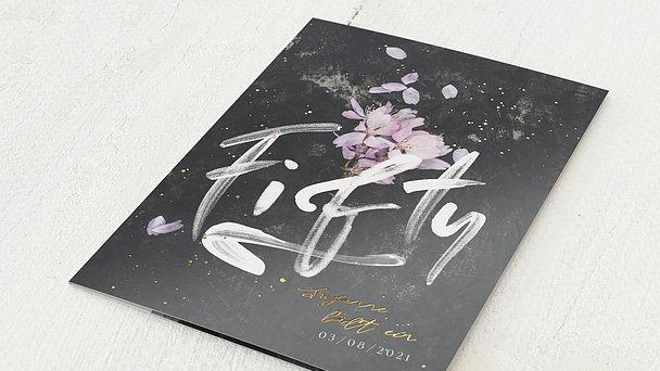 Geburtstagseinladungen - Grunge blossom 50