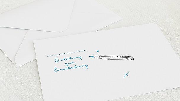 Umschlag mit Design Einschulung - Schicker Schulranzen