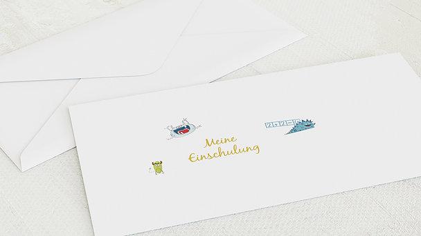 Umschlag mit Design Einschulung - School Monsters