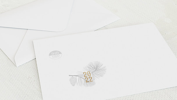 Umschlag mit Design Weihnachten Geschäftlich - Fichtennadeln