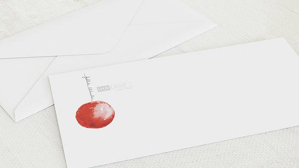 Umschlag mit Design Weihnachten Geschäftlich - Rote Weihnachtskugel