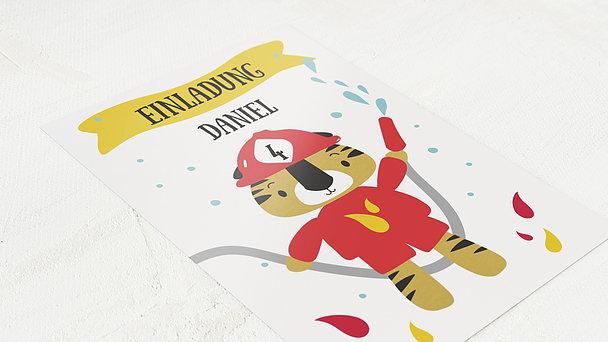 Einladungen für Kindergeburtstag - Feuerwehrtiger