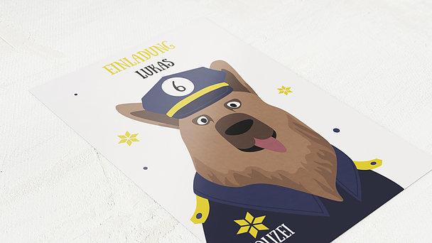 Einladungen für Kindergeburtstag - Wachtmeister Wuff