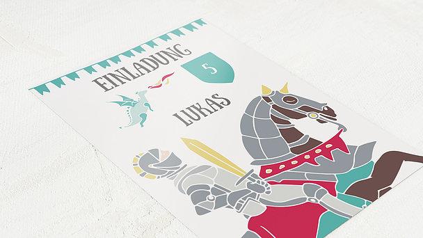 Einladungen für Kindergeburtstag - Mutiger Ritter