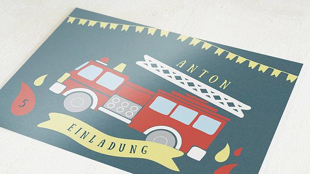 Einladungen für Kindergeburtstag - Feueralarm