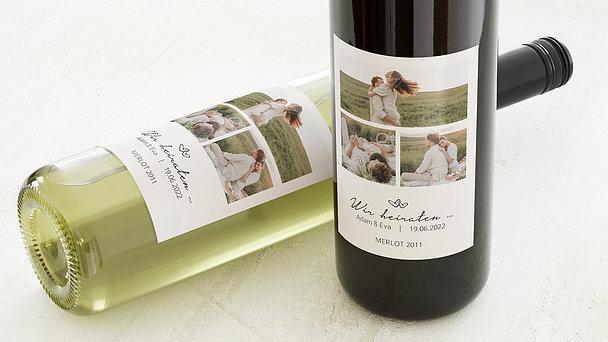 Weinetiketten Hochzeit - Herzklopfen