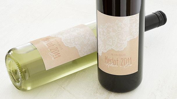 Weinetiketten Hochzeit - Pastellspitze