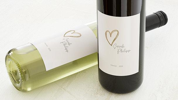 Weinetiketten Hochzeit - Herz über Kopf