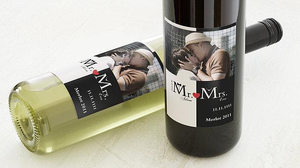 Weinetiketten Hochzeit - Mr & Mrs