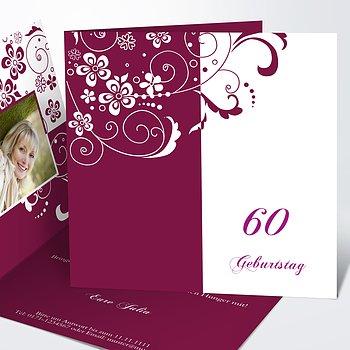 Geburtstagseinladungen - Blütenkarte mit Foto 60