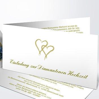 Diamantene Hochzeit Einladung - Mein Herz