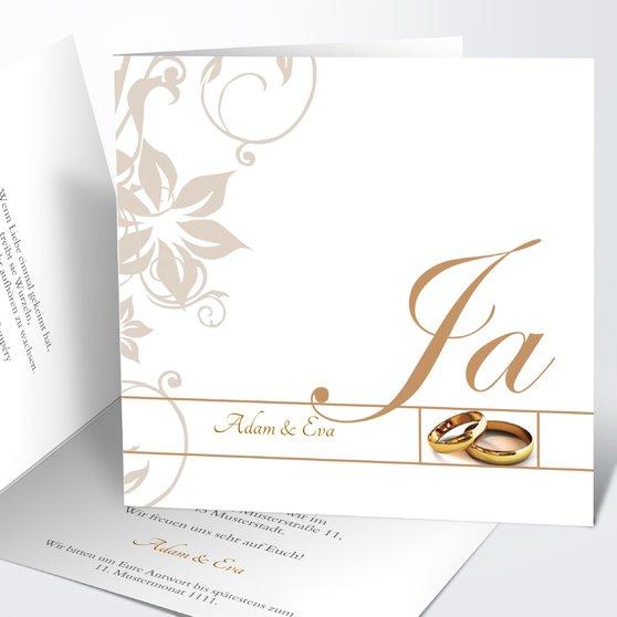 Weiße Hochzeit - Quadratische Klappkarte 145x145 - Karamell