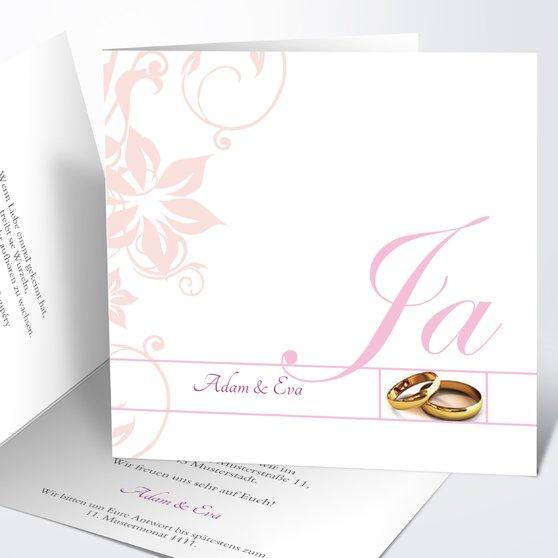 Weiße Hochzeit - Quadratische Klappkarte 145x145 - Rosen Pink