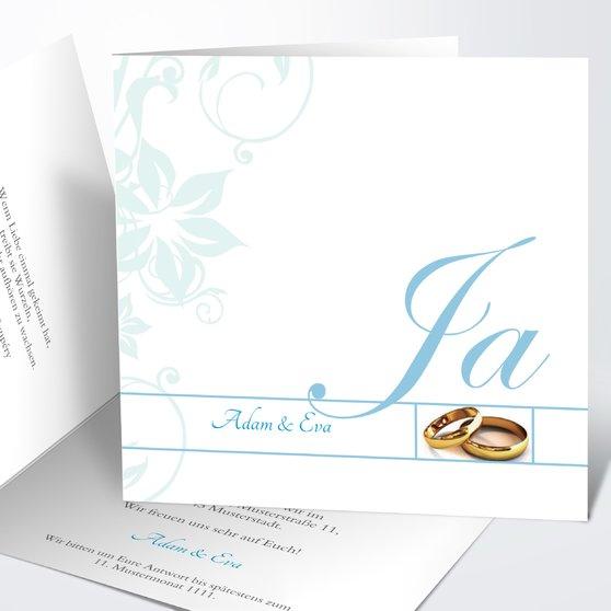 Weiße Hochzeit - Quadratische Klappkarte 145x145 - Puderblau