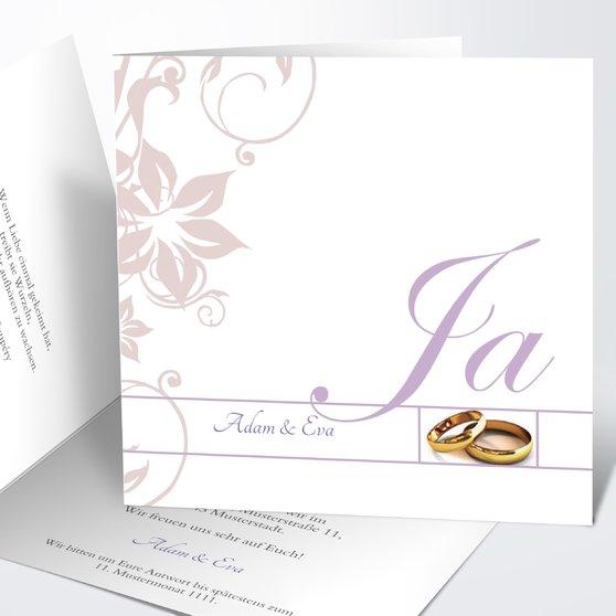 Weiße Hochzeit - Quadratische Klappkarte 145x145 - Lila
