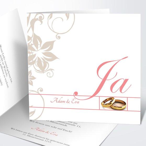 Weiße Hochzeit - Quadratische Klappkarte 145x145 - Koralle