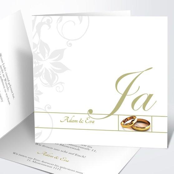 Weiße Hochzeit - Quadratische Klappkarte 145x145 - Khaki