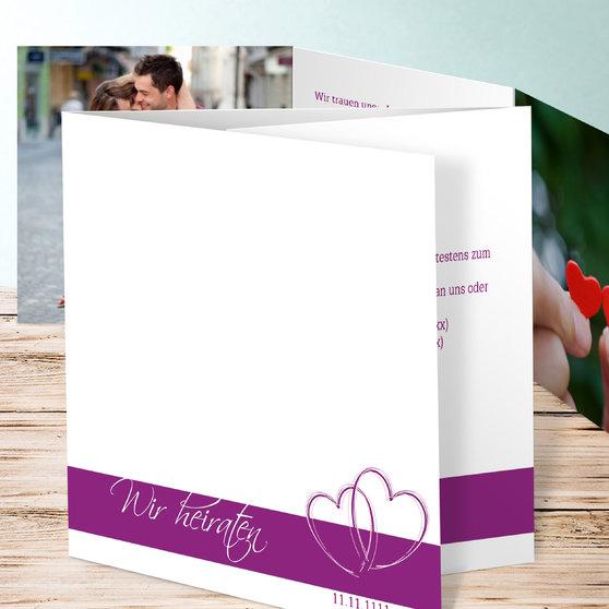 Ewig verbunden - Doppelklappkarte 145x145 - Violett