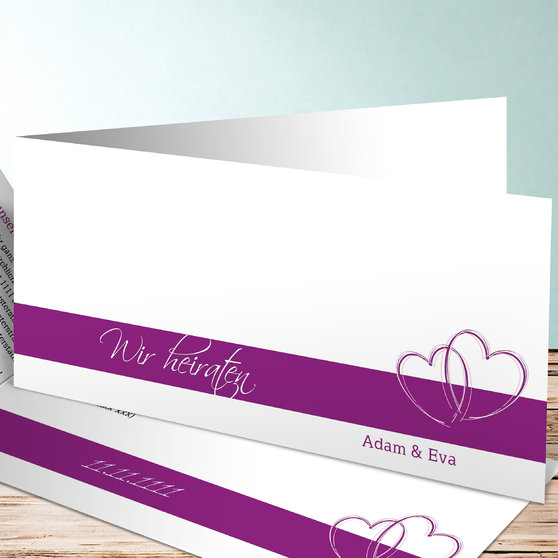 Ewig verbunden - Horizontale Klappkarte 210x100 - Violett