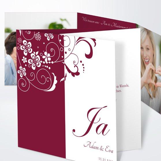 Garten der Träume - Doppelklappkarte 145x145 - Hell Bordeaux