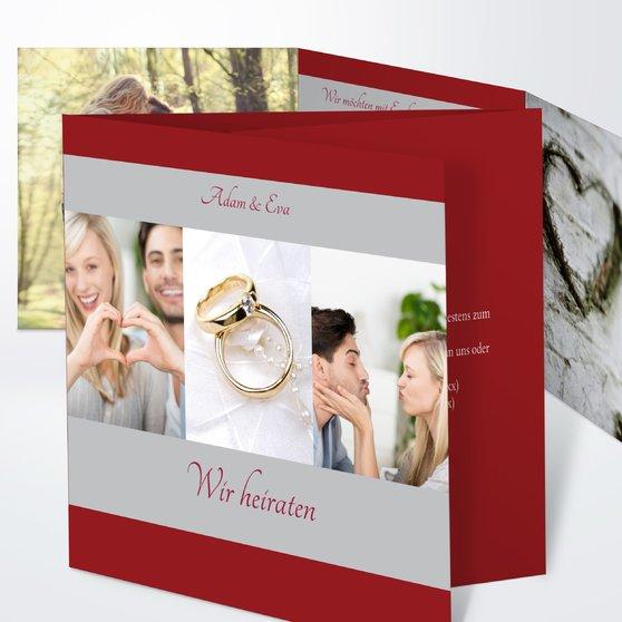 Ja, ich will - Doppelklappkarte 145x145 - Hell Bordeaux