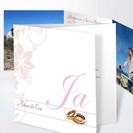 Weiße Hochzeit - Doppelklappkarte 145x145 - Rosen Pink