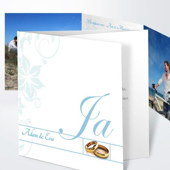 Weiße Hochzeit - Doppelklappkarte 145x145 - Puderblau