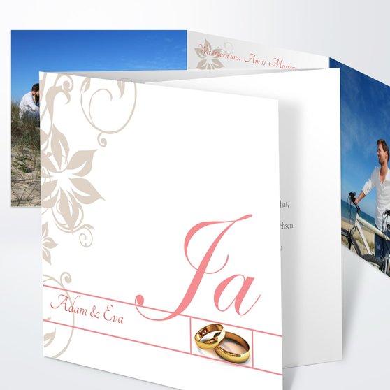 Weiße Hochzeit - Doppelklappkarte 145x145 - Koralle